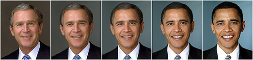 [Bush to Obama morph photo (Posted by Peggy Wang on BuzzFeed)]